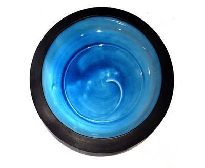 Flat rimmed dish - sky blue